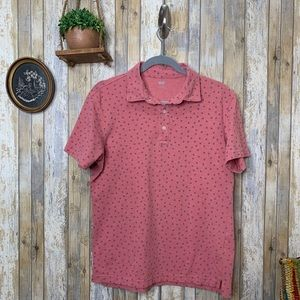 Uniqlo Men's Polo Red Floral Pattern Top